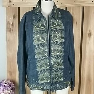 Chico's Embellished Jean Jacket NWOT